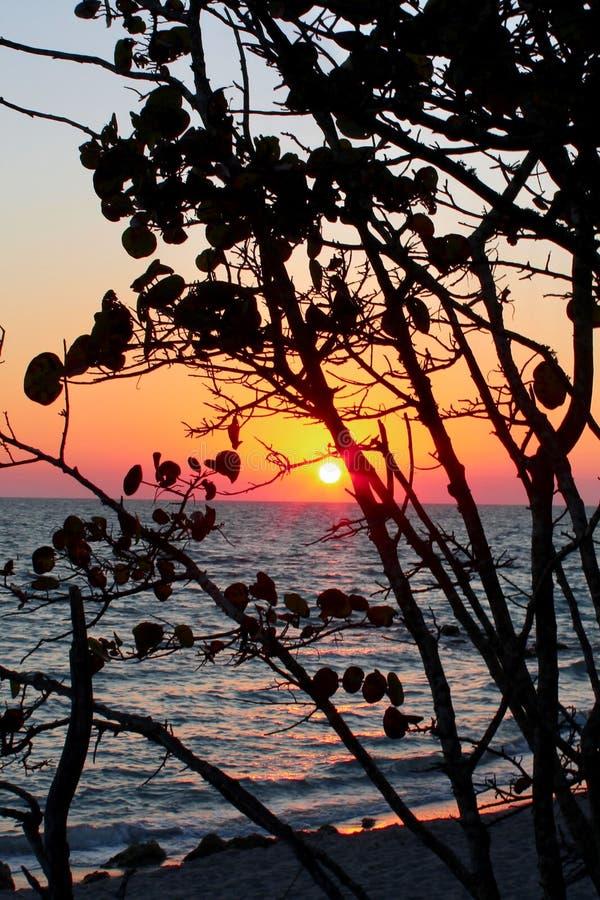 Puesta del sol tropical hermosa en el mar imágenes de archivo libres de regalías
