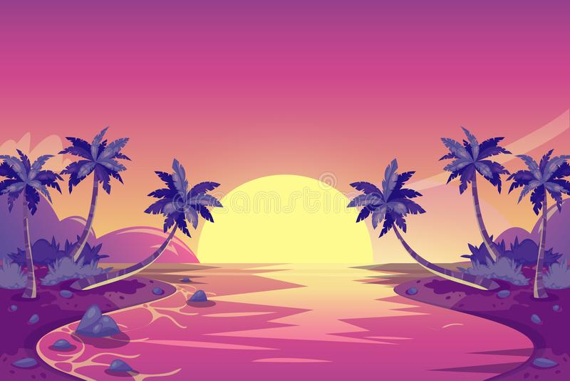 Puesta del sol tropical del verano Ejemplo del paisaje de la isla de la historieta del vector Palmeras en la playa del océano stock de ilustración