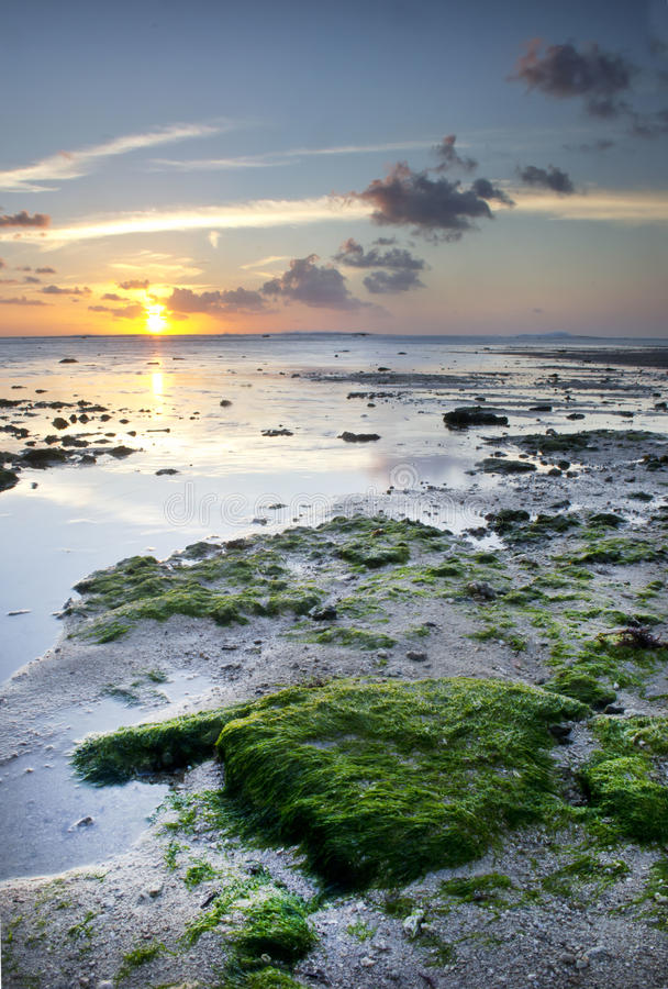 Puesta del sol Ujung Genteng, Sukabumi foto de archivo libre de regalías