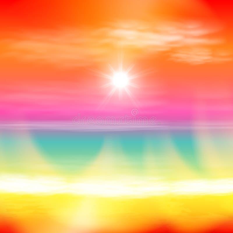 Puesta del sol del verano del mar con el sol y la luz en la lente ilustración del vector