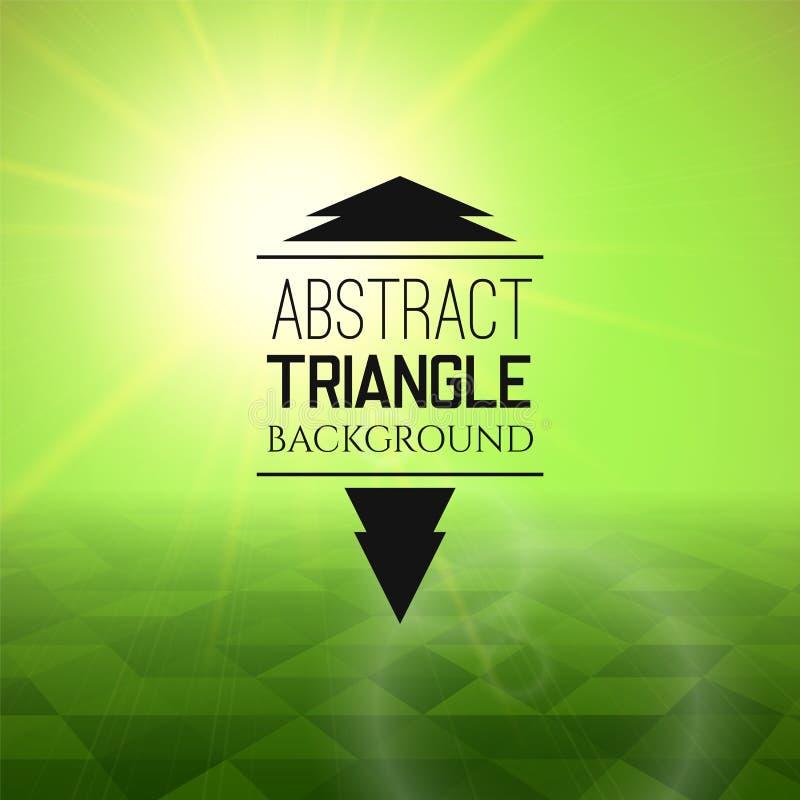 Puesta del sol verde abstracta con el campo del triángulo, modelo perspetive en niebla soleada libre illustration