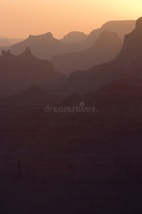 Puesta del sol vertical de la barranca fotografía de archivo libre de regalías