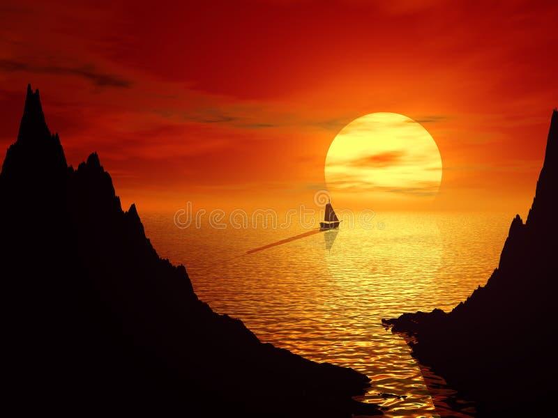 Puesta del sol y barco de vela en paisaje del mar 3d imagen de archivo