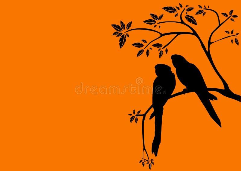 Puesta del sol y dos pájaros en un árbol ilustración del vector