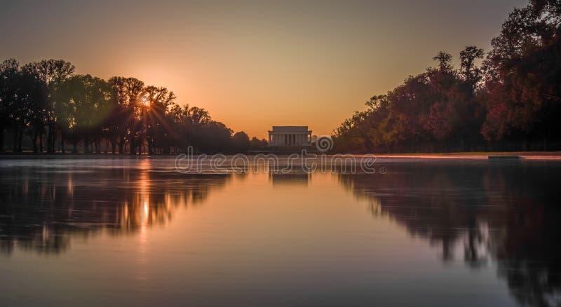 puesta del sol y el Lincoln memorial que reflejan en una piscina en Washington d foto de archivo libre de regalías