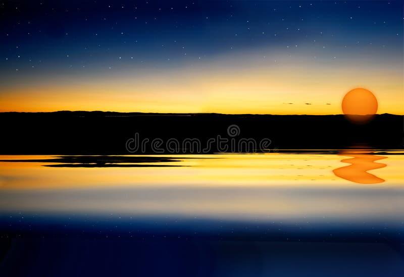 Puesta del sol y estrellas foto de archivo