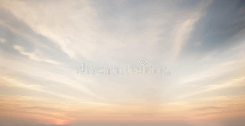 Puesta del sol y papel pintado nublado del cielo azul foto de archivo libre de regalías