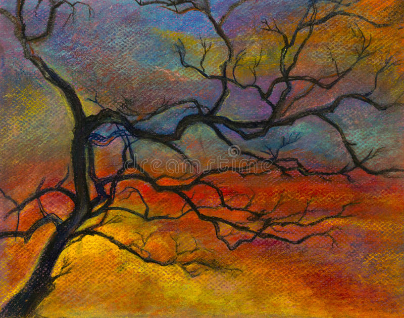Puesta del sol y una rama de árbol ilustración del vector