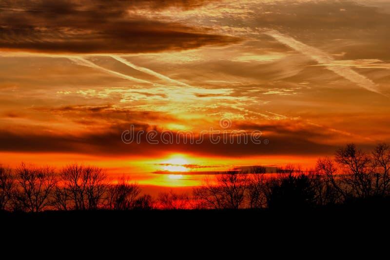 Puestas del sol sobre el PA del condado de Chester fotos de archivo