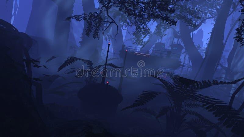 Puesto avanzado profundo de la selva ilustración del vector