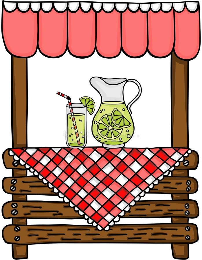 Puesto de limonadas de madera ilustración del vector