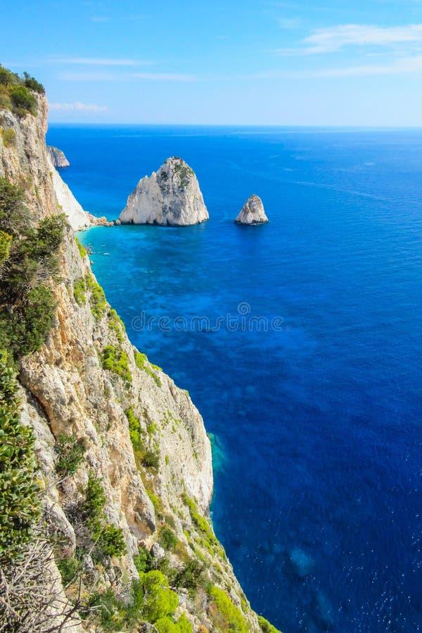 Puesto de observación asombroso desde arriba del cabo de Keri, isla de Zakynthos, Grecia imagenes de archivo