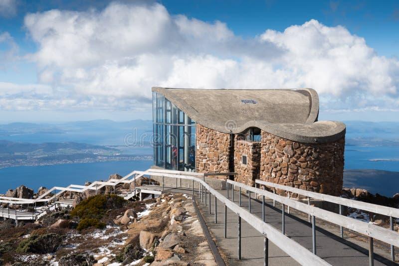 Puesto de observación en el soporte Wellington, Hobart de desatención, Tasmania, Australia fotografía de archivo libre de regalías