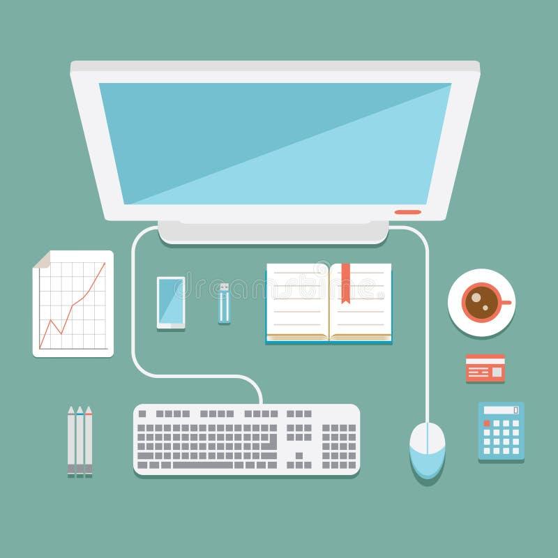Puesto de trabajo de la oficina en estilo plano stock de ilustración