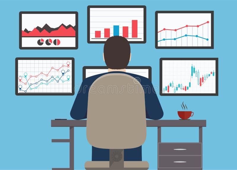 Puesto de trabajo, información y sitio web s del analytics del web del desarrollo stock de ilustración