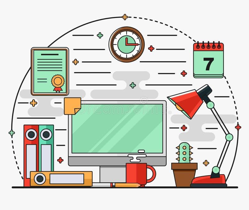 Puesto de trabajo interior plano linear con un escritorio, ordenador, lámpara, documentos, calendario libre illustration