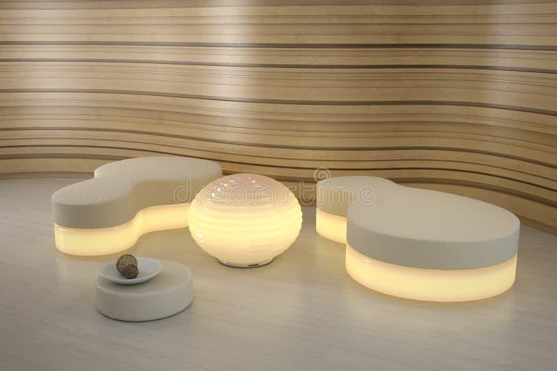Pufe da iluminação no quarto moderno. imagens de stock