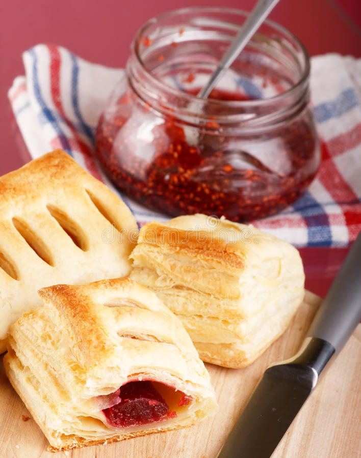 Puff with confiture stock photos