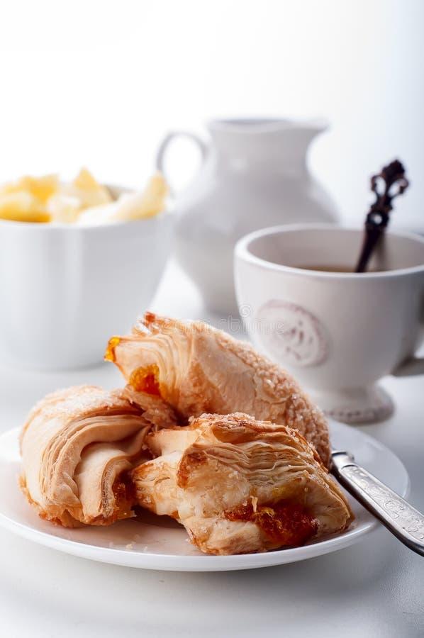 Puff cookieswith english tea stock image