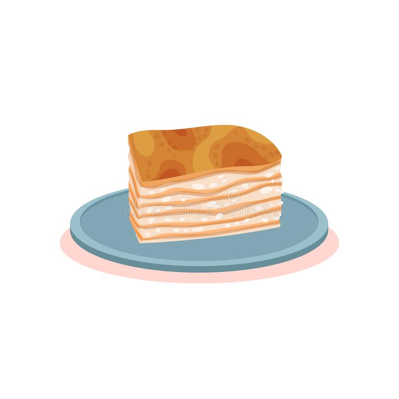 Puff milk pastry cake with cream, Bulgarian cuisine national food dish vector Illustration on a white background stock illustration