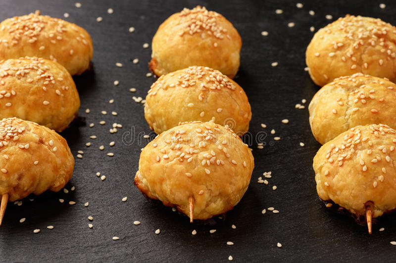 Puff pastries with meat samosa - traditional uzbek and indian pasrty. royalty free stock photos