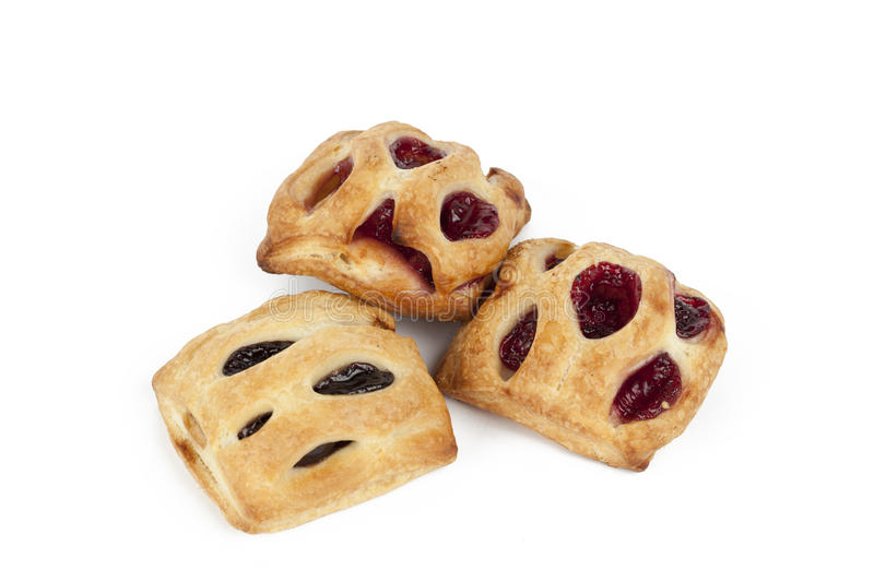 Puff pastry with chocolate and raspberry royalty free stock photos