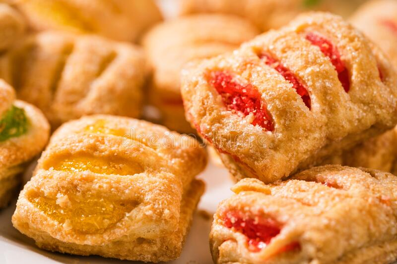 Puff pastry cookies with jam royalty free stock photos