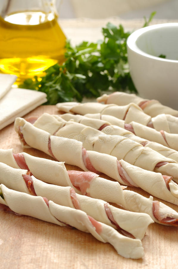 Puff pastry with ham stock images