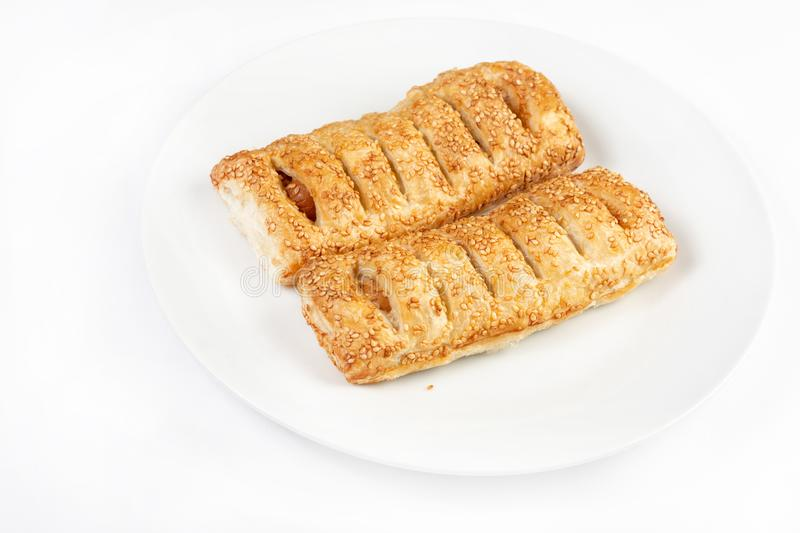 Puff Pastry With Hot Dog Isolated Above White Background royalty free stock photography
