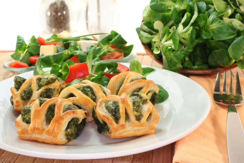 Puff pastry with spinach and cheese filling stock photo