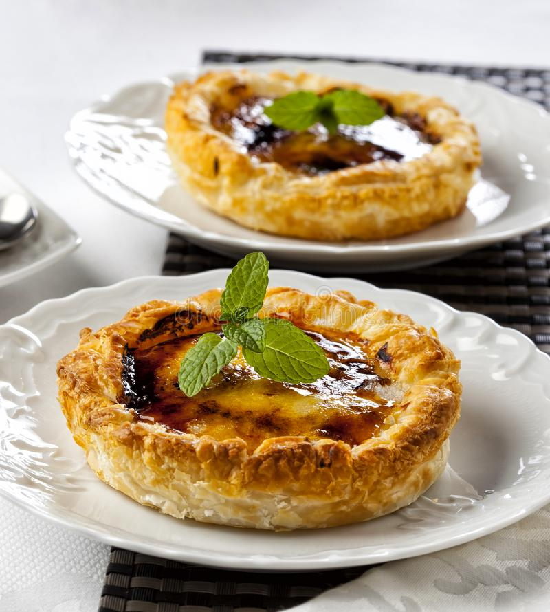 Puff pastry stuffed with creme brulee royalty free stock images