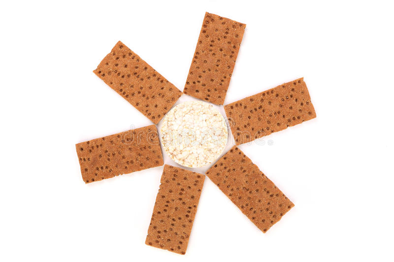 Puffed rice snack and grain crisp bread. stock photo