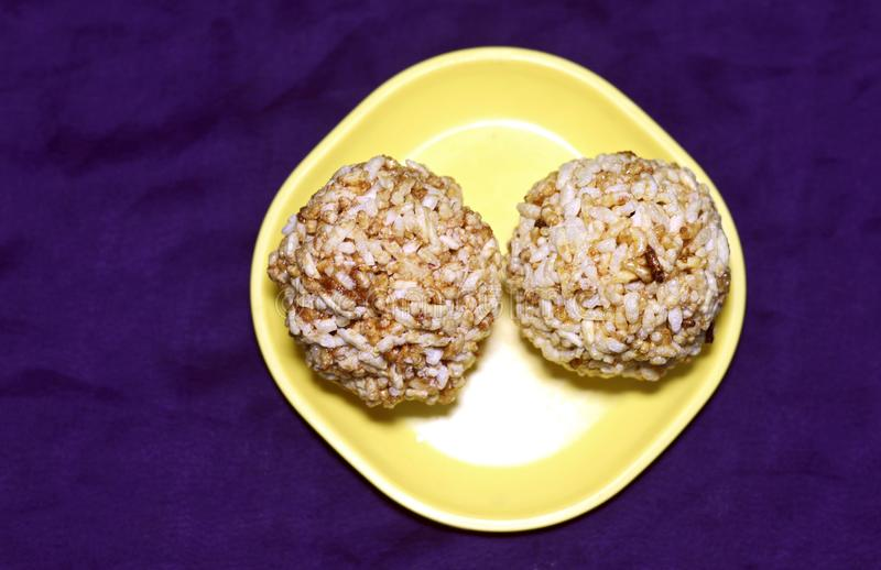 Puffed rice sweet balls stock images