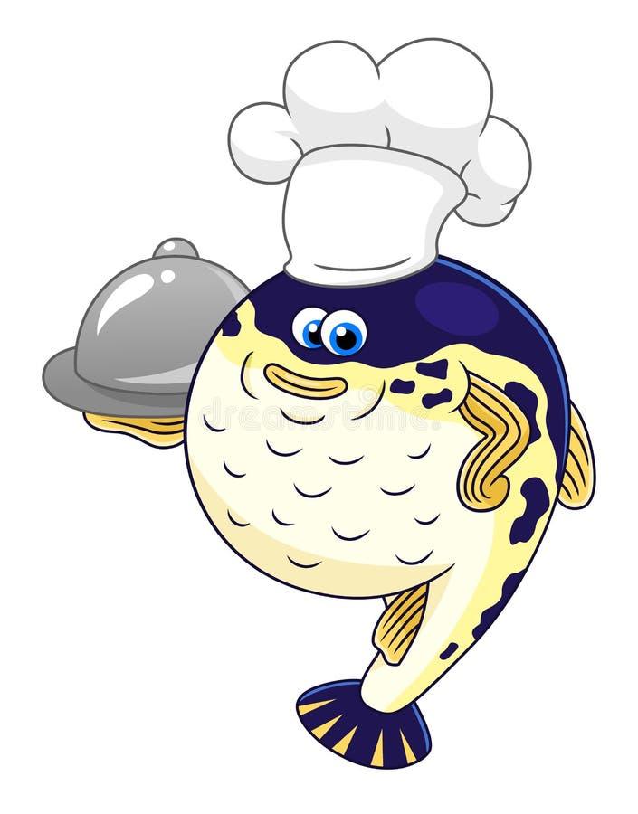 Puffer fish chef royalty free illustration