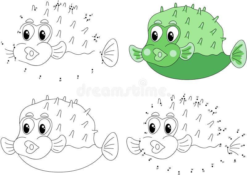 Pufferfish divertidos del verde de la historieta Libro de colorear y punto para puntear el gam stock de ilustración