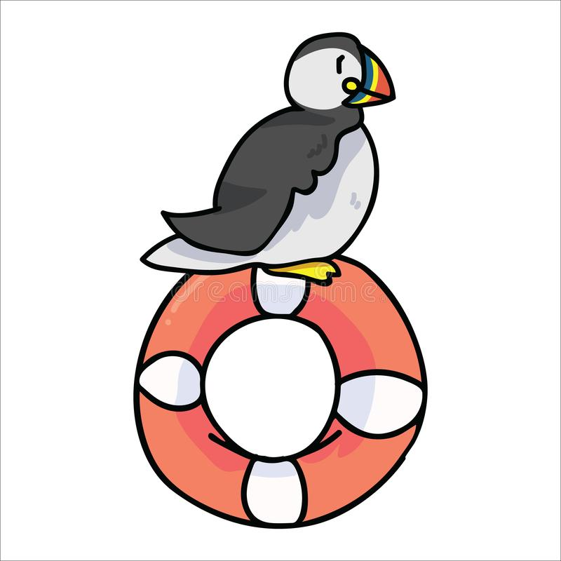 Cute puffin sitting on lifering cartoon vector illustration. Hand drawn nautical seabird isolated elements. Clipart for life guard stock illustration