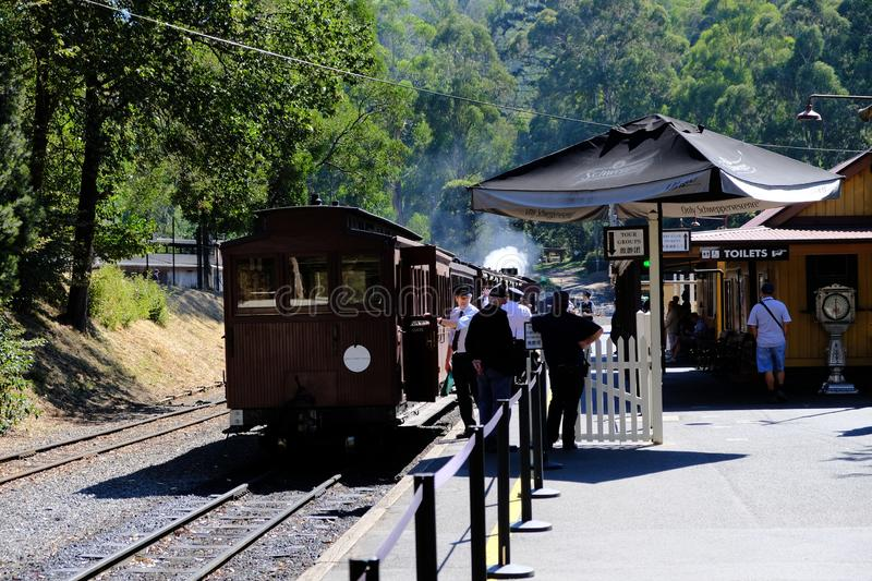 Puffing Billy is above to leave the platform- the steam train in Belgrave, Melbourne, Australia. Puffing Billy is a traditional steam train still operating today stock photo