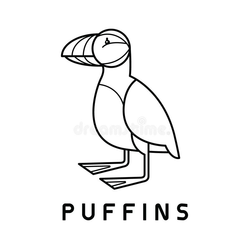 Puffins Logo design vector template Linear style royalty free illustration