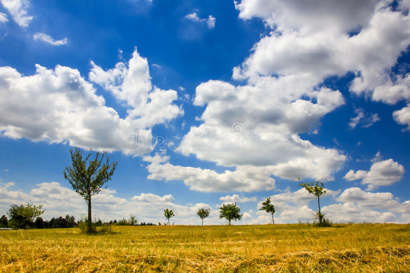 Puffy clouds and blue sky stock photos
