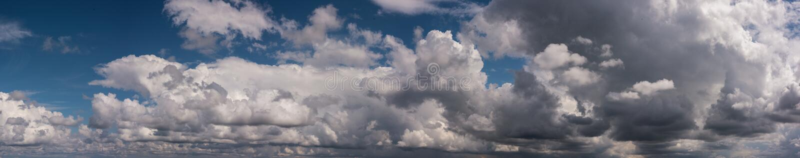 Puffy rain bearing clouds panorama royalty free stock images