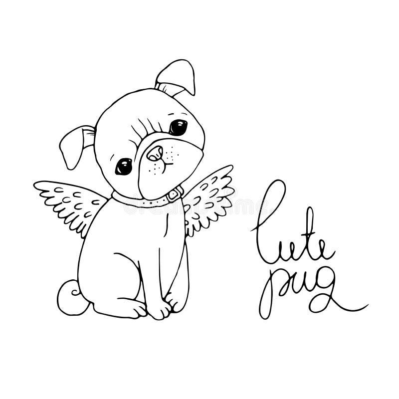 Pug bonito Cão ilustração stock