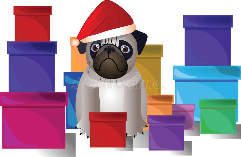 Pug in a Christmas hat royalty free stock image