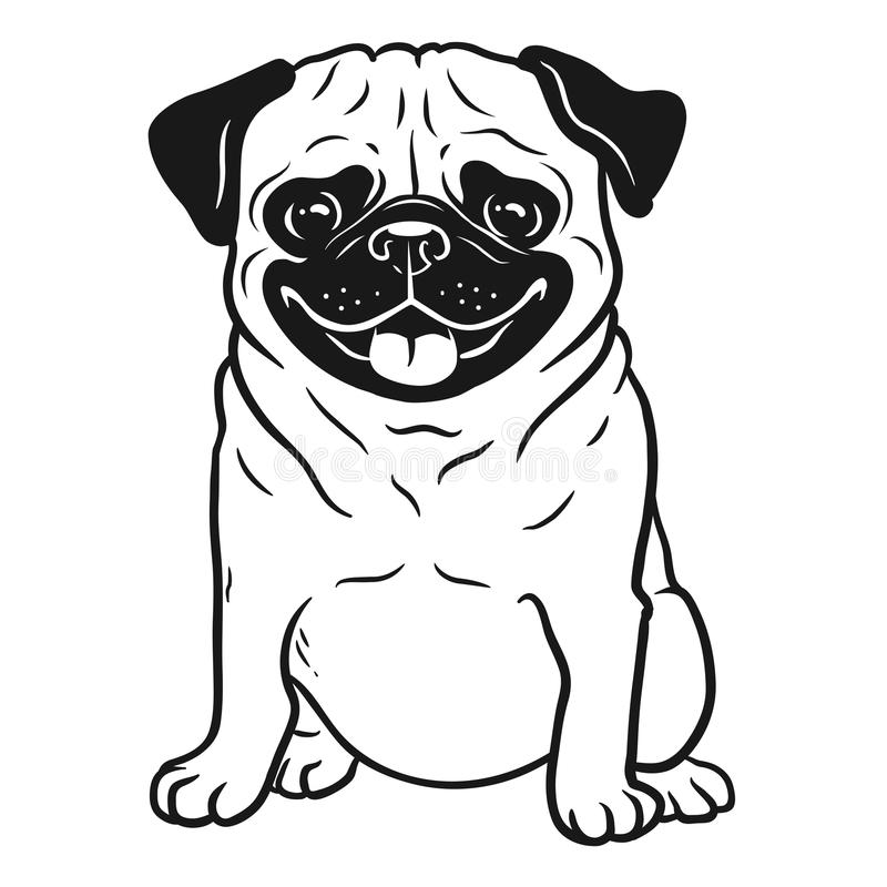 Pug dog black and white hand drawn cartoon portrait. Funny happy royalty free illustration