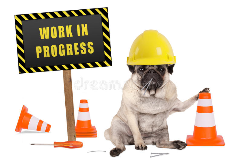 Pug dog with constructor safety helmet and yellow and black work in progress sign on wooden pole stock photo