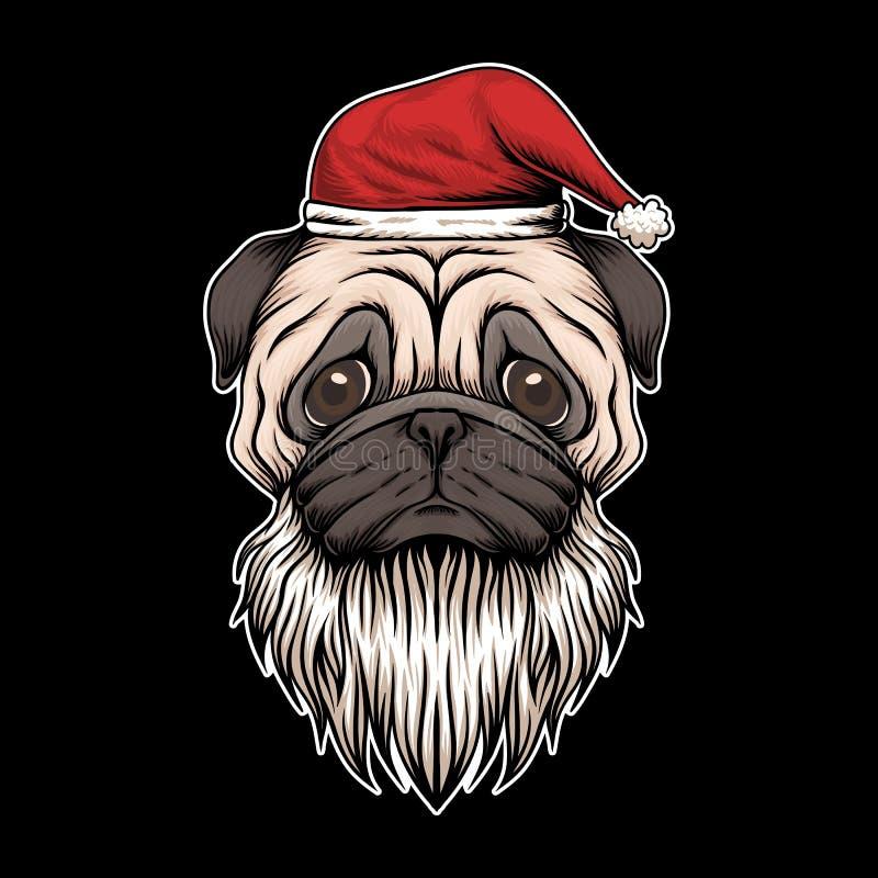 Pug dog hat and beard santa christmas ilustração royalty free