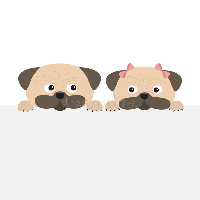 Pug dog mops set. Boy and girl. Cute cartoon character. Flat design. Isolated. White background. vector illustration
