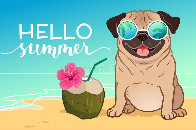 Pug dog wearing reflective sunglasses on a sandy beach, ocean in vector illustration