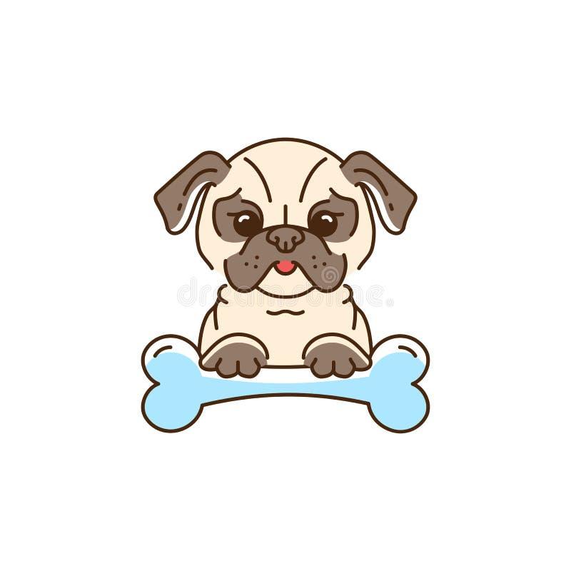 Pug dos desenhos animados, cão bonito com um osso O buldogue, linha ícone fino do pug-cão, Vector a ilustração colorida ilustração do vetor