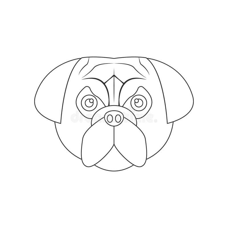 Pug het pictogram van het hondgezicht Element van hond voor mobiel concept en webtoepassingenpictogram Overzicht, dun lijnpictogr stock illustratie