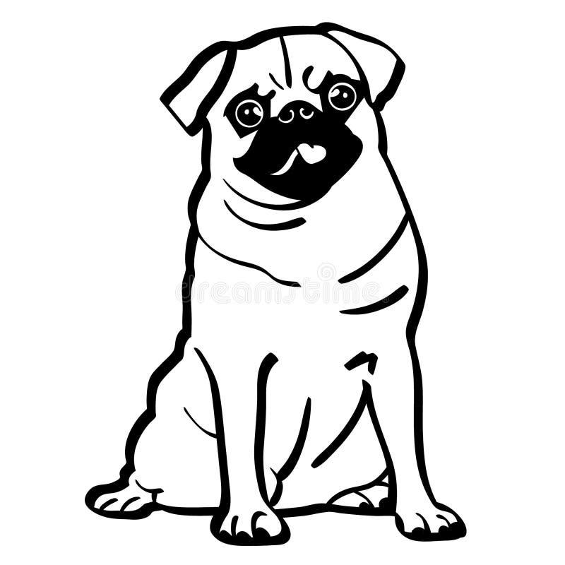 Pug hond vectoreps getrokken Hand, Vector, Eps, Embleem, Pictogram, silhouetillustratie door crafteroks voor verschillend gebruik stock illustratie